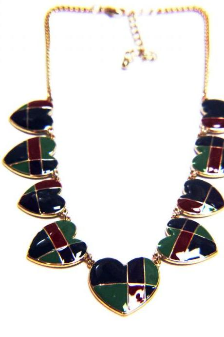 Color-Blocked Heart Enamel Chain Necklace