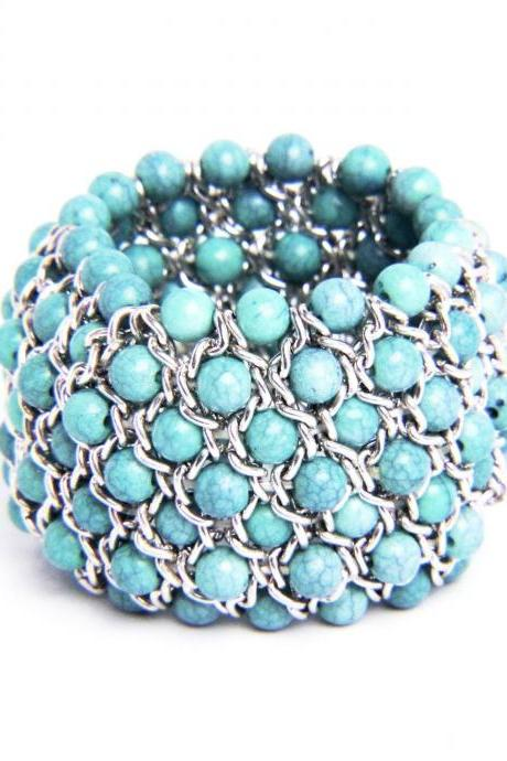 Woven Turquoise Natural Stone Stretch Bracelet
